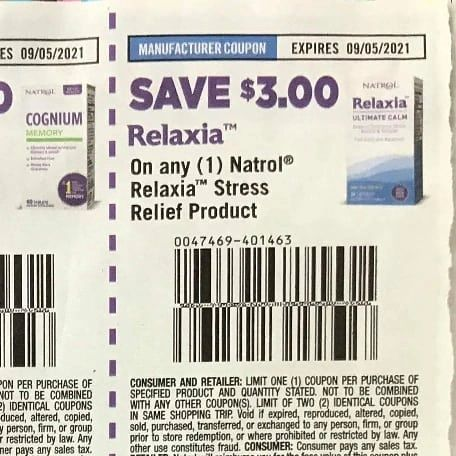 10 COupons $3/1 Natrol Relaxia Stress Relief Product Exp.9/5/21