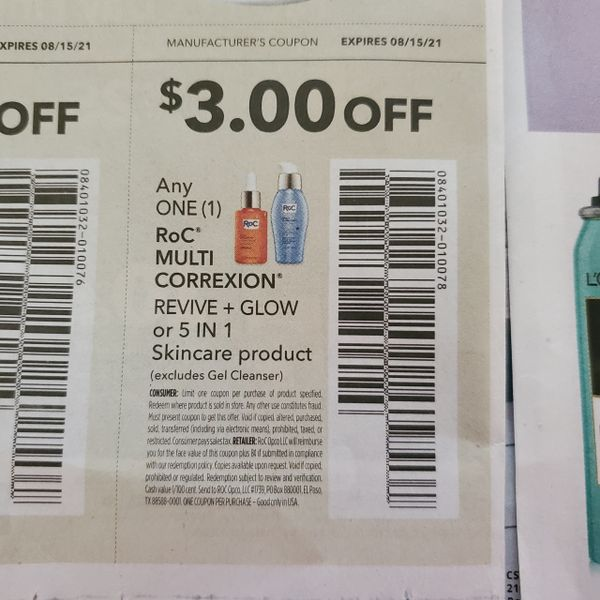 10 Coupons $3/1 Roc Multi Correxion Revive+ Glow or 5 in 1 Skincare Product Exp.8/15/21