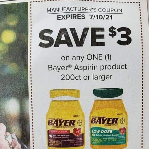 10 Coupons $3/1 Bayer Aspirin Product 200ct+ Exp.7/10/21