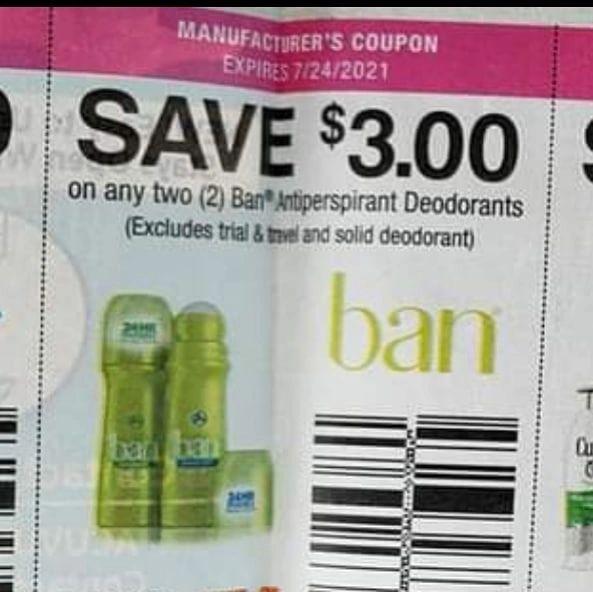 10 Coupons $3/2 Ban Antiperspirant Deodorants Exp.7/24/21