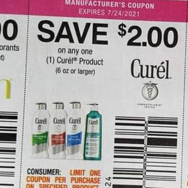 10 Coupons $2/1 Curel Product (6oz+) Exp.7/24/21