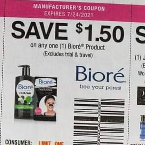 10 Coupons $1.50/1 Biore Product Exp.7/24/21