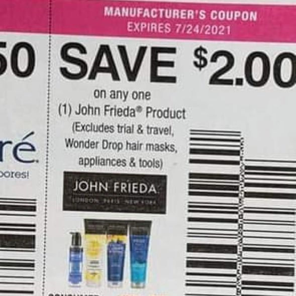 10 Coupons $2/1 John Frieda Product (Excludes Drop Hair Masks, Appliances & Tools) Exp.7/24/21