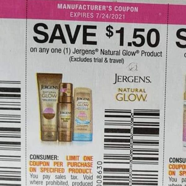 10 Coupons $1.50/1 Jergens Natural Glow Product Exp.7/24/21