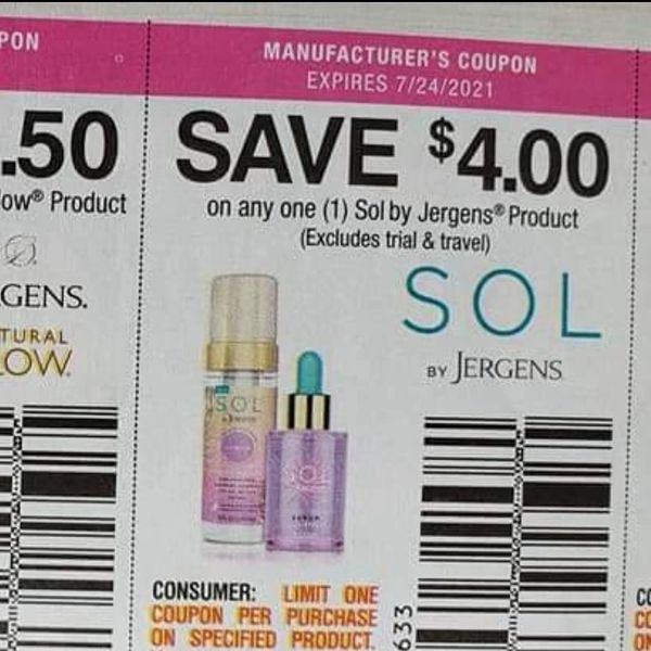 10 Coupons $4/1 Sol by Jergens Product Exp.7/24/21