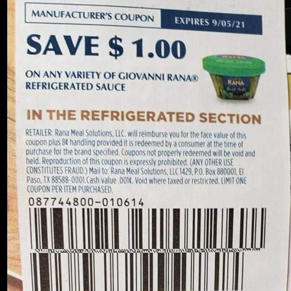 10 Coupons $1/1 Giovanni Rana Refrigerated Sauce Exp.9/5/21