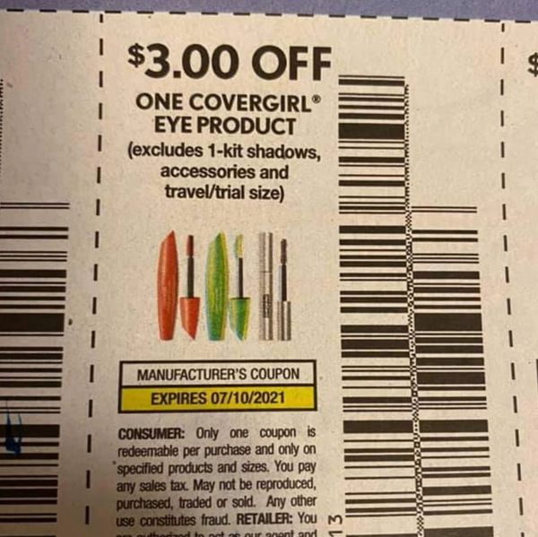 10 Coupons $3/1 covergirl Eye Product (Excludes 1-Kit Shadows, Accessories) Exp.7/10/21