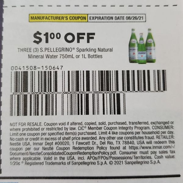 10 Coupons $1/1 S. Pellegrino Sparkling Natural Mineral Water 750mL or 1L Bottles Exp.8/26/21