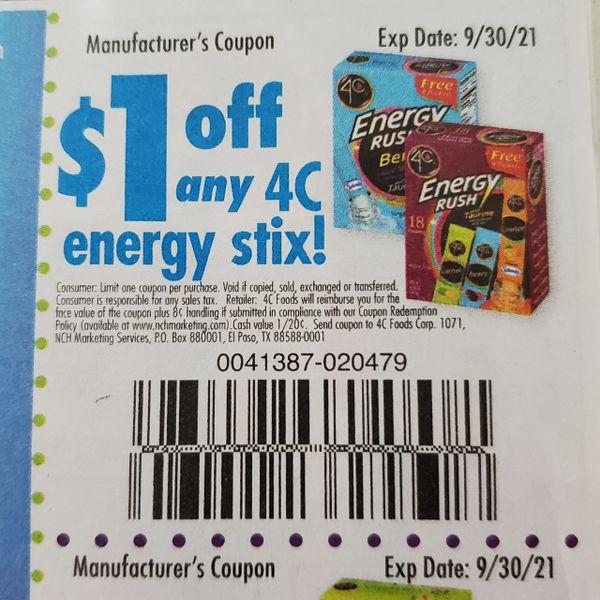 10 Coupons $1/1 4C Energy Stix Exp.9/30/21