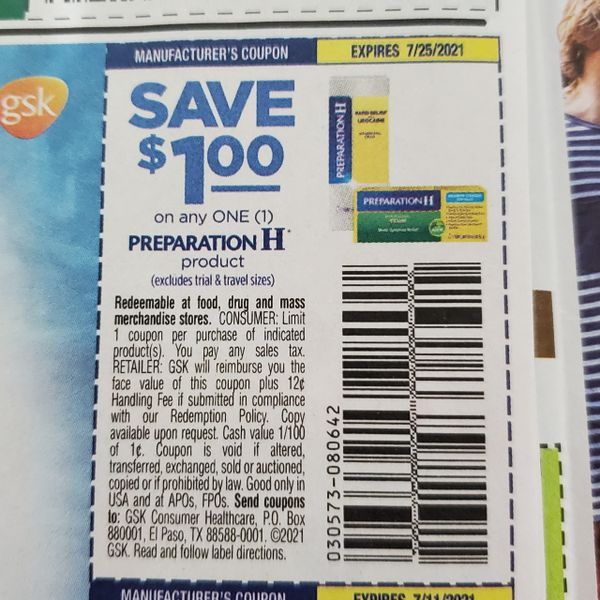 10 Coupons $1/1 Preparation H Product Exp.7/25/21