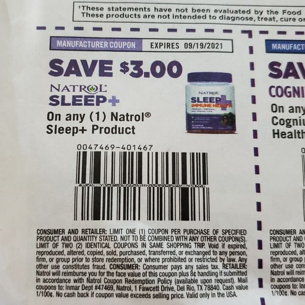 10 Coupons $3/1 Natrol Sleep+ Exp.9/19/21