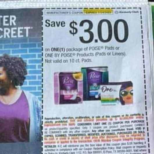 10 Coupons $3/1 Poise Pads or One By Poise Products (Pads or Liners) Excludes Valid on 10ct Pads Exp.7/24/21