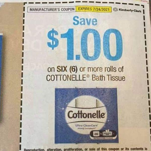 10 Coupons $1/1 Cottonelle Bath Tissue (6) Rolls+ Exp.7/24/21