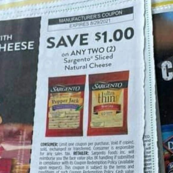 10 Coupons $1/2 Sargento Sliced Natural Cheese Exp.8/29/21