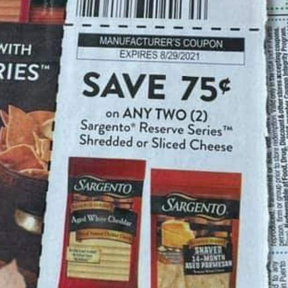 10 COupons $.75/2 Sargento Reserve Series Shredded or Sliced Cheese Exp.8/29/21
