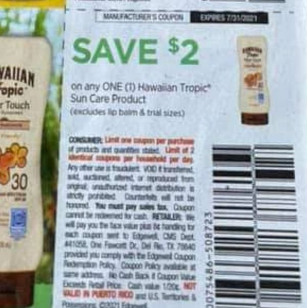 10 Coupons $2/1 Hawaaiin Tropic Sun Care Product (Excludes Lip Balm) Exp.7/31/21