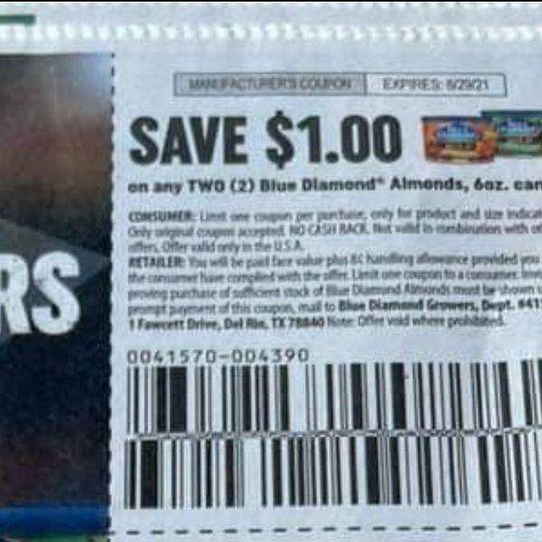 10 Coupons $1/2 Blue Diamond Almonds 6oz Cans Exp.8/29/21