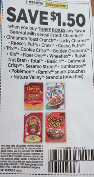 10 Coupons $1.50/3 General Mills Cereals Listed Exp.8/21/21
