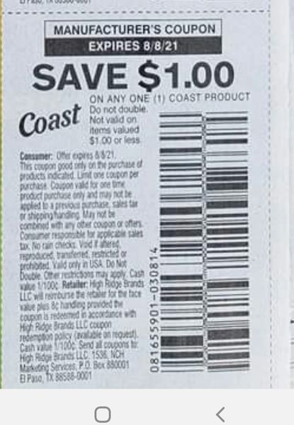 10 Coupons $1/1 Coast Product Exp.8/8/21
