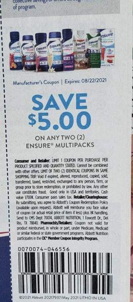 10 Coupons $5/2 Ensure Multipacks Exp.8/22/21