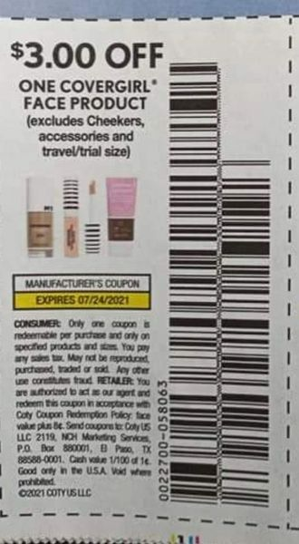 10 Coupons $3/1 Covergirl Face Product Exp.7/24/21