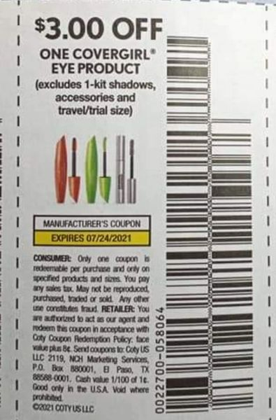 10 Coupons $3/1 Covergirl Eye Product Exp.7/24/21