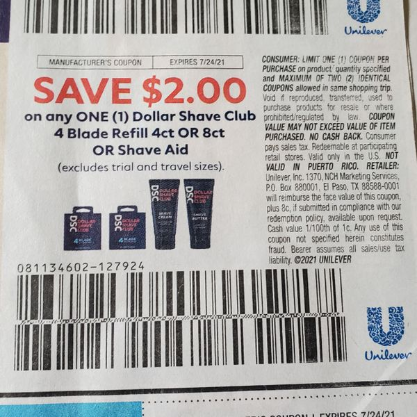 10 Coupons $2/1 Dollar Shave Club 4 Blade Refill 4ct or 8ct or Shave Aid Exp.7/24/21