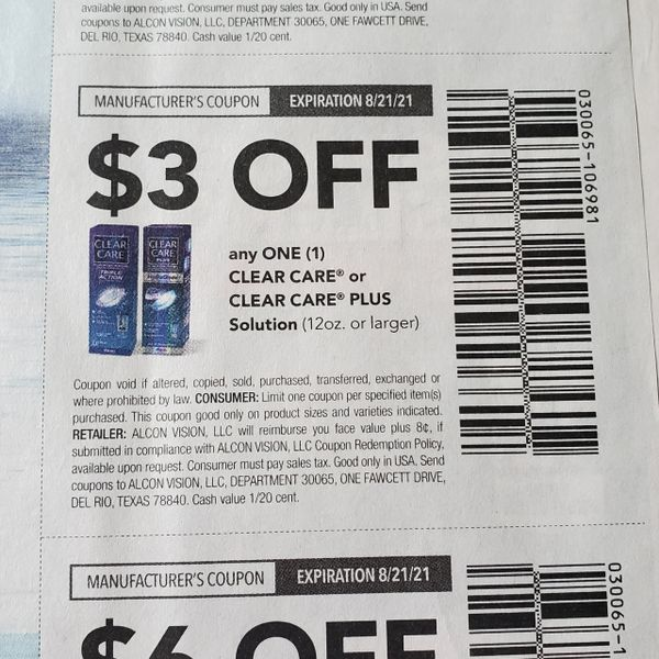 10 Coupons $3/1 Clear Care or Clear Care PLUS Solution (12oz+) Exp.8/21/21