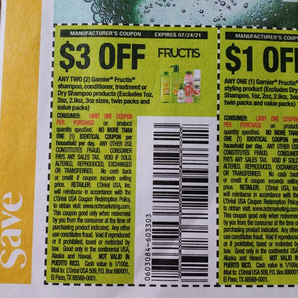 10 Coupons $3/2 Garnier Frucris Shampoo, Conditioner, Treatment or Dry Shampoo Products Exp.7/24/21