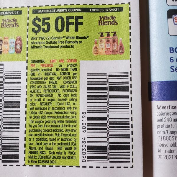 10 Coupons $5/2 Garnier Whole Blends Shampoo Sulfate Free Remedy or Miracle Treatment Products Exp.7/24/21