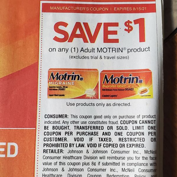 10 Coupons $1/1 Adult Motrin Product Exp.8/15/21