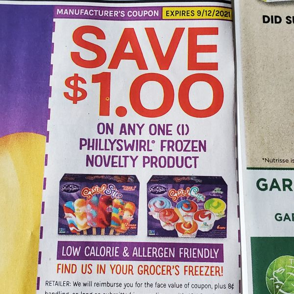 10 Coupons $1/1 Phillyswirl Frozen Novelty Product Exp.9/12/21