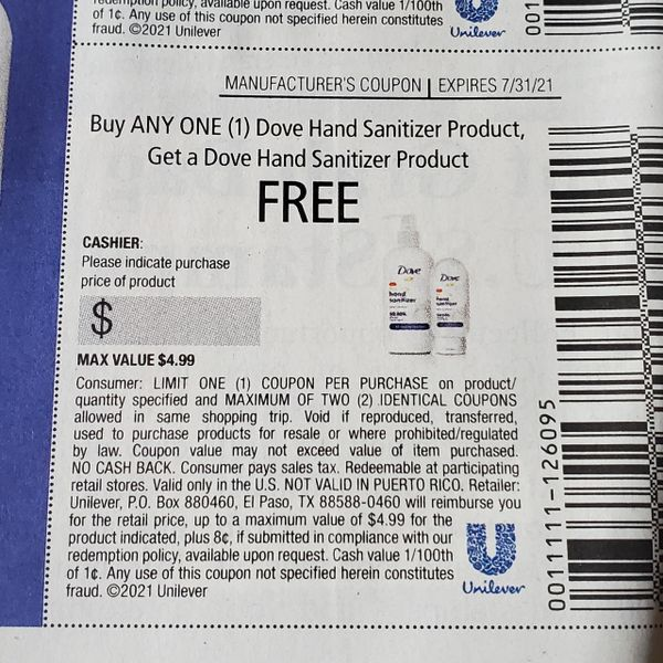 10 Coupons BOGO Dove Hand Sanitizer (Up To $4.99) Exp.7/31/21