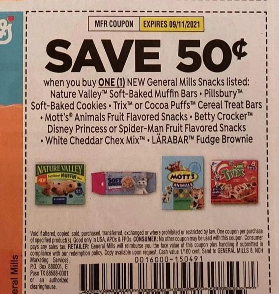10 Coupons $.50/1 General Mills Snacks: Nature Valley Soft Baked Muffin Bars, Pillsbury Soft Baked Cookies, Trix or Cocoa Puffs Cereal Treat Bars, Mott's Animal Fruit Flavored SnacksExp.9/11/21
