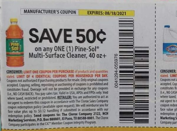 10 Coupons $.50/1 Pine-Sol Multi-Surface cleaner 40oz+ Exp.8/18/21