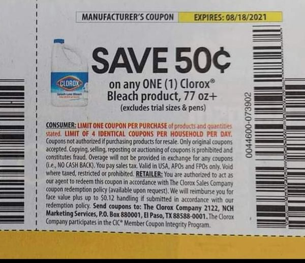 10 Coupons $,50/1 Clorox Bleach Product 77oz+ Exp.8/18/21
