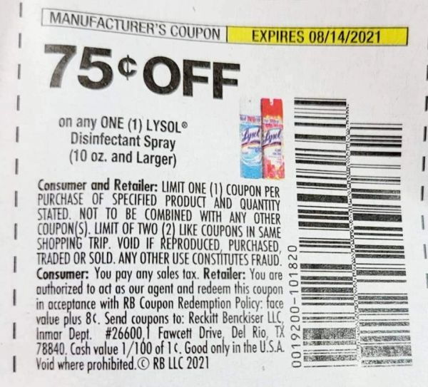 10 Coupons $.75/1 Lysol Disinfecting Spray (10oz+) Exp.8/14/21 (