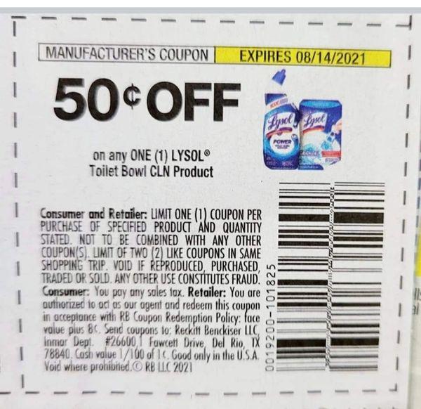 10 Coupons $.50/1 Lysol Toilet Bowl CLN Product Exp.8/14/21