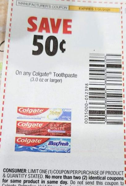 10 Coupons $.50/1 Colgate Toothpaste (3.0oz+) Exp.7/31/21