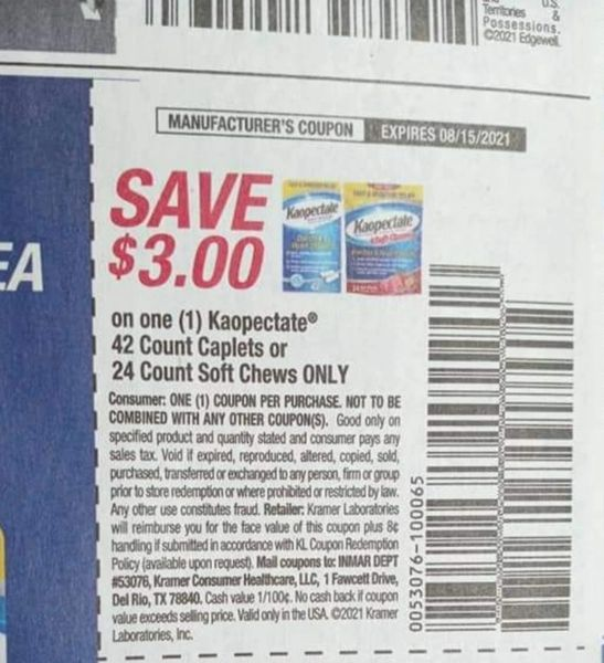 10 Coupons $3/1 Kaopectate 42ct Caplets or 24ct Soft Chews Only Exp.8/15/21
