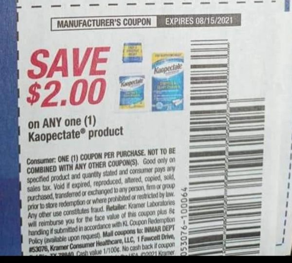 10 Coupons $2/1 Kaopectate Product Exp.8/15/21