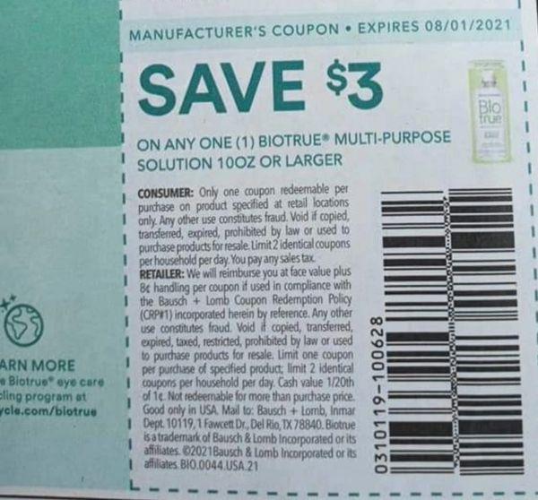 10 Coupons $3/1 Biotrue Multi-Purpose Solution 10oz+ Exp.8/1/21