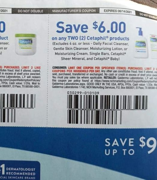 10 Coupons $6/2 Cetaphil Product (Excludes 4oz or Less- Daily Facial Cleanser, Gentle Skin Cleanser, Moisturizing Lotion or Moisturizing Cream and Single Bars Exp,8/14/21