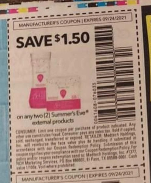10 Coupons $1.50/2 Summer's Eve External Products Exp.9/24/21