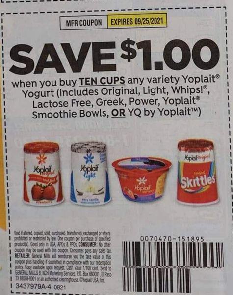 10 Coupons $1/10 Yoplait Yogurt (Includes Original, Light, Whips, Lactose Free, Greek, Power, Yoplait Smoothie Bowls or YQ by Yoplait) Exp.9/25/21