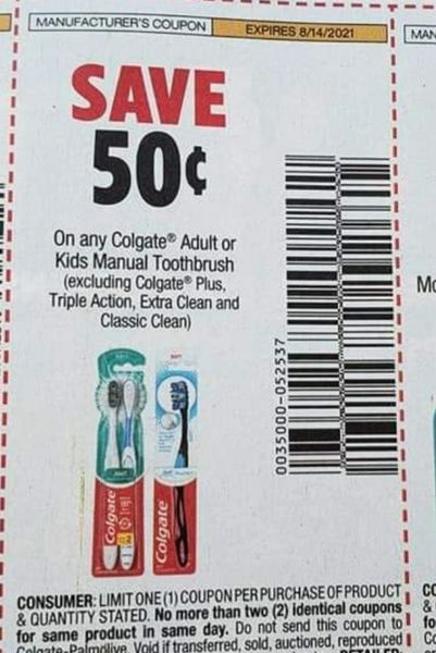 10 Coupons $.50/1 Colgate Adult or Kids Manual Toothbrush Exp.8/14/21