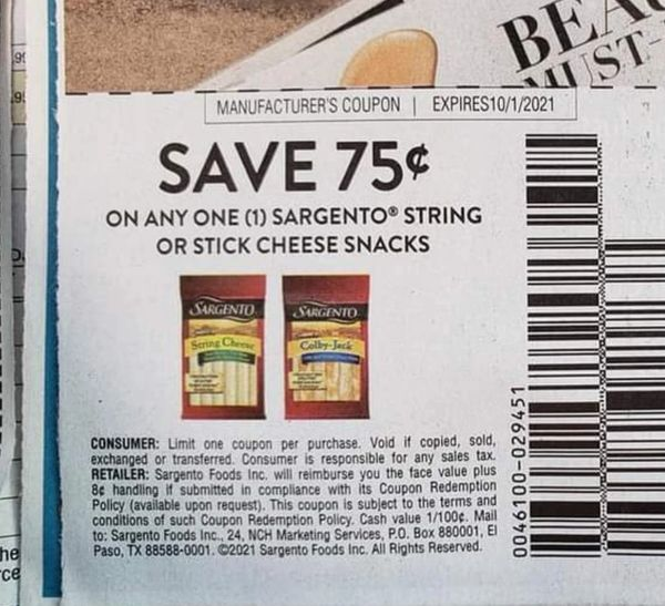 10 Coupons $.75/1 Sargento String or Stick Cheese Snacks Exp.10/1/21