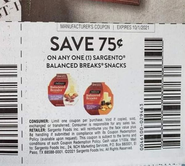 10 Coupons $.75/1 Sargento Balanced Breaks Snacks Exp.10/1/21
