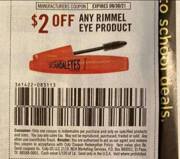 10 Coupons $2/1 Rimmel Eye Product Exp.9/30/21