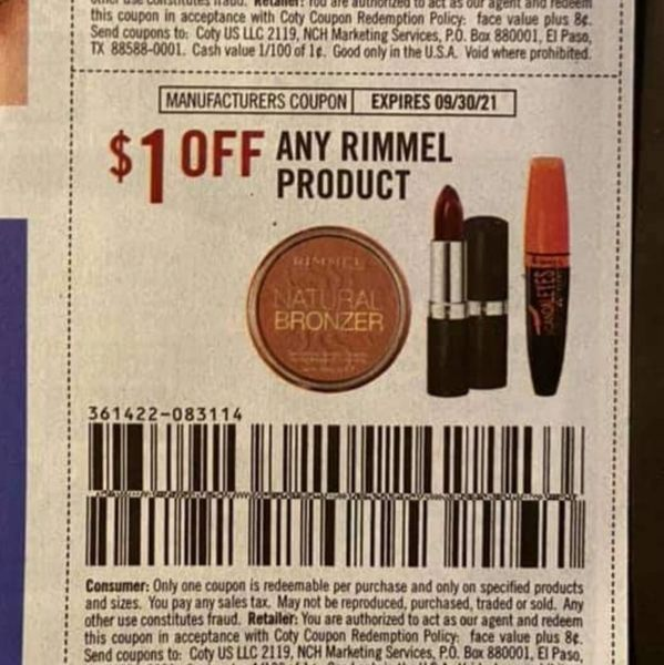 10 Coupons $1/1 Rimmel Product Exp.9/30/21